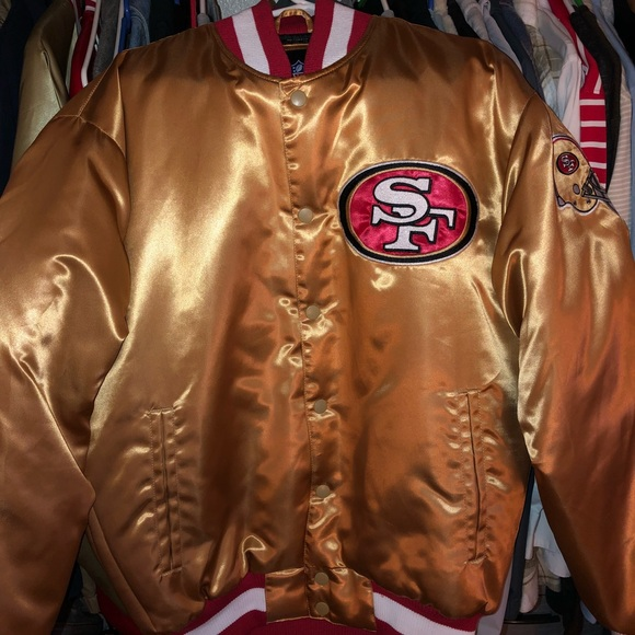 the best attitude 670aa 27bc5 49ers Mitchell & Ness gold satin jacket.